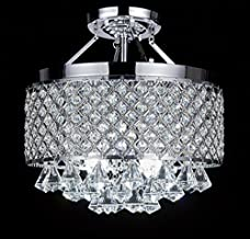 Diamond Life 4-light Chrome Finish Round Metal Shade Crystal Chandelier Semi-Flush Mount Ceiling Fixture