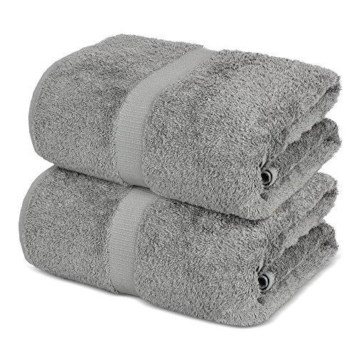 Towel Bazaar 100% Turkish Cotton Bath Sheets, 700 GSM, 35 x 70 Inch, Eco-Friendly (2 Pack, Gray) (Turkish Or Cotton Egyptian)