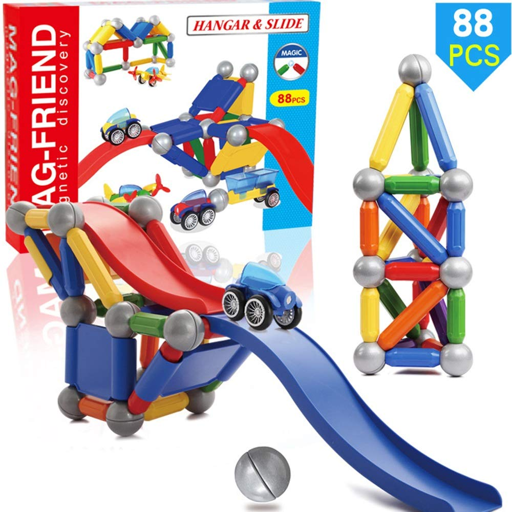KODH Puzzle Puzzle Magnetic Toy Track Ball Building Blocks Creative DIY Assembly Magnetic Strip Toy Boy Girl 3 Years Old Children Interactive Stacking Game 88pcs Suit
