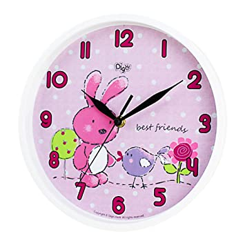 Mehousa Silent 10 Inch Bunny Wall Clock For Kids Room  Non Ticking  Analog