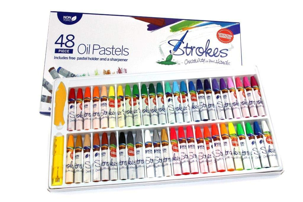 Premium Oil Pastels 48 Assorted Colors Non Toxic, Smooth Blending Texture, Ideal For All Artist Levels by Strokes Art Supplies