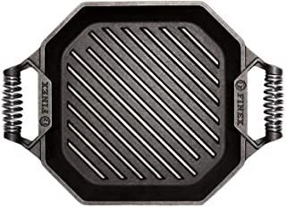 """product image for FINEX 12"""" Cast Iron Grill Pan, Modern Heirloom, Handcrafted in The USA, Pre-Seasoned with Organic Flaxseed Oil"""