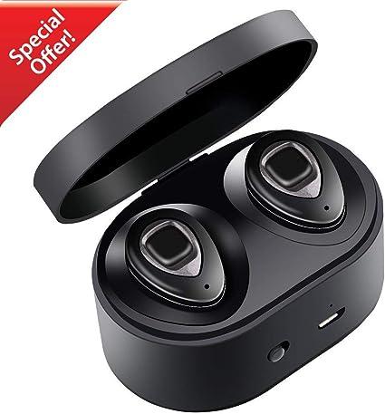 XIAOWU Mini Auricolari Wireless Bluetooth, Effetto Stereo Antisudore per Sport, con Microfono e Stazione di Ricarica per iPhone, Samsung, iPad e la