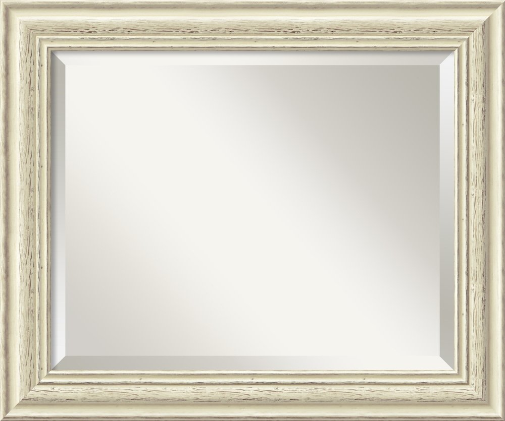 Amanti Art Wall Mirror Medium, Country White Wash Wood: Outer Size 24 x 20