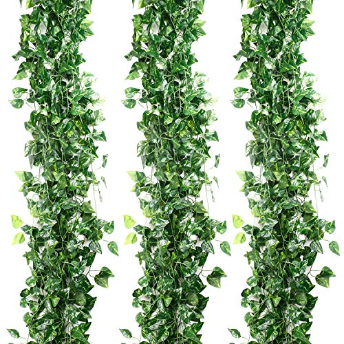 Fake Garland Leaves,12pcs (84 Feet) Fake Foliage Faux Ivy Artificial Leaves Fake Leaves Ivy Plant Vines Garland Scindapsus Leaves Garland Home Office Garden Wall Decoration (Scindapsus Leaves)