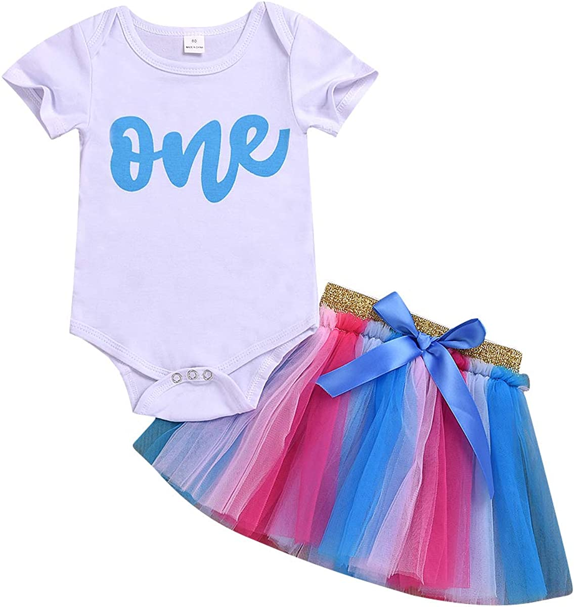 Kislio Infant Baby Girls 1st Birthday Romper Tutu Skirt Chiffon Tutu Dress Outfit Clothes