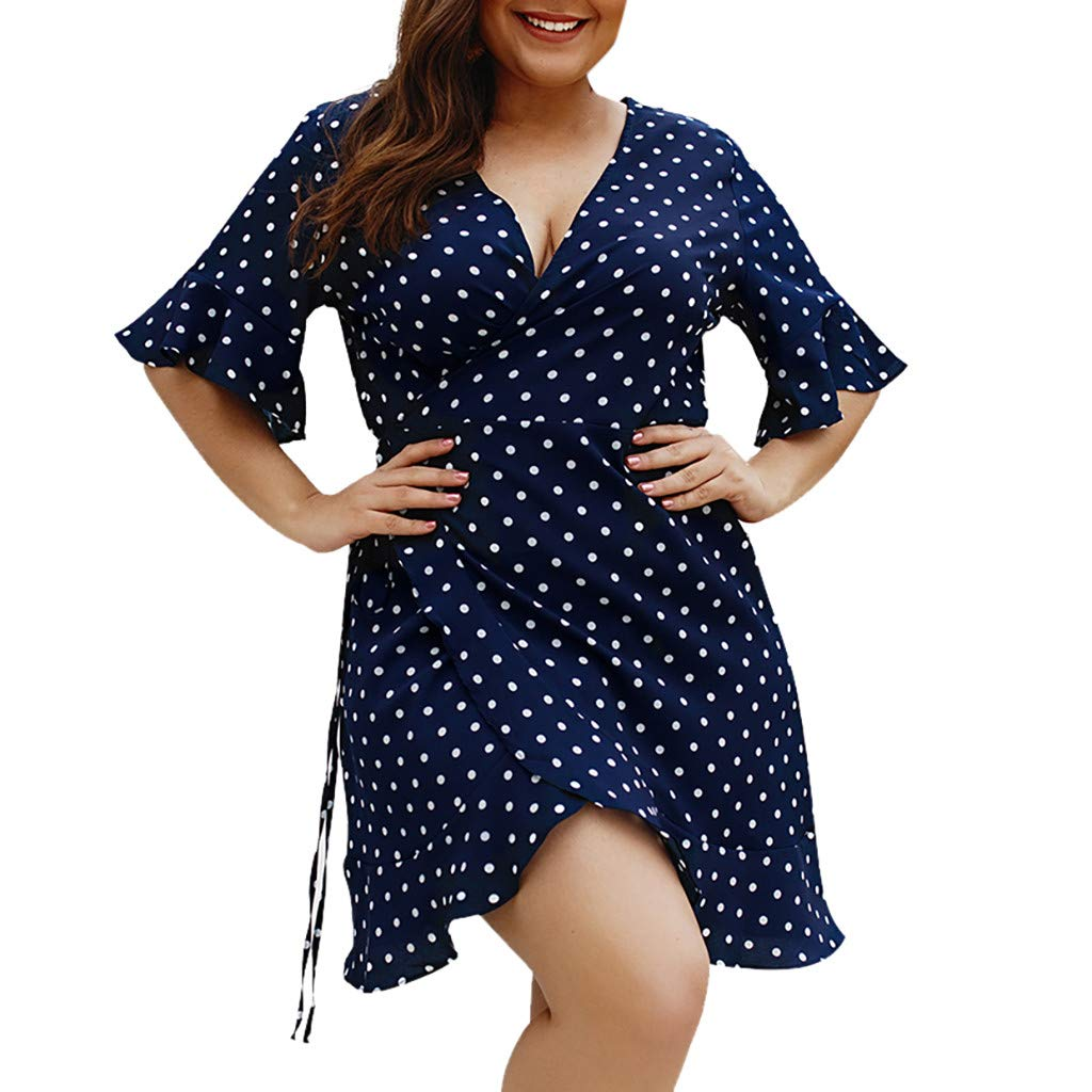 Womens A-Line Short Skirts Short Sleeve V-Neck Polka Dot Wrap Mini Dress Summer Holiday Dress Plus Size (L3, Navy)