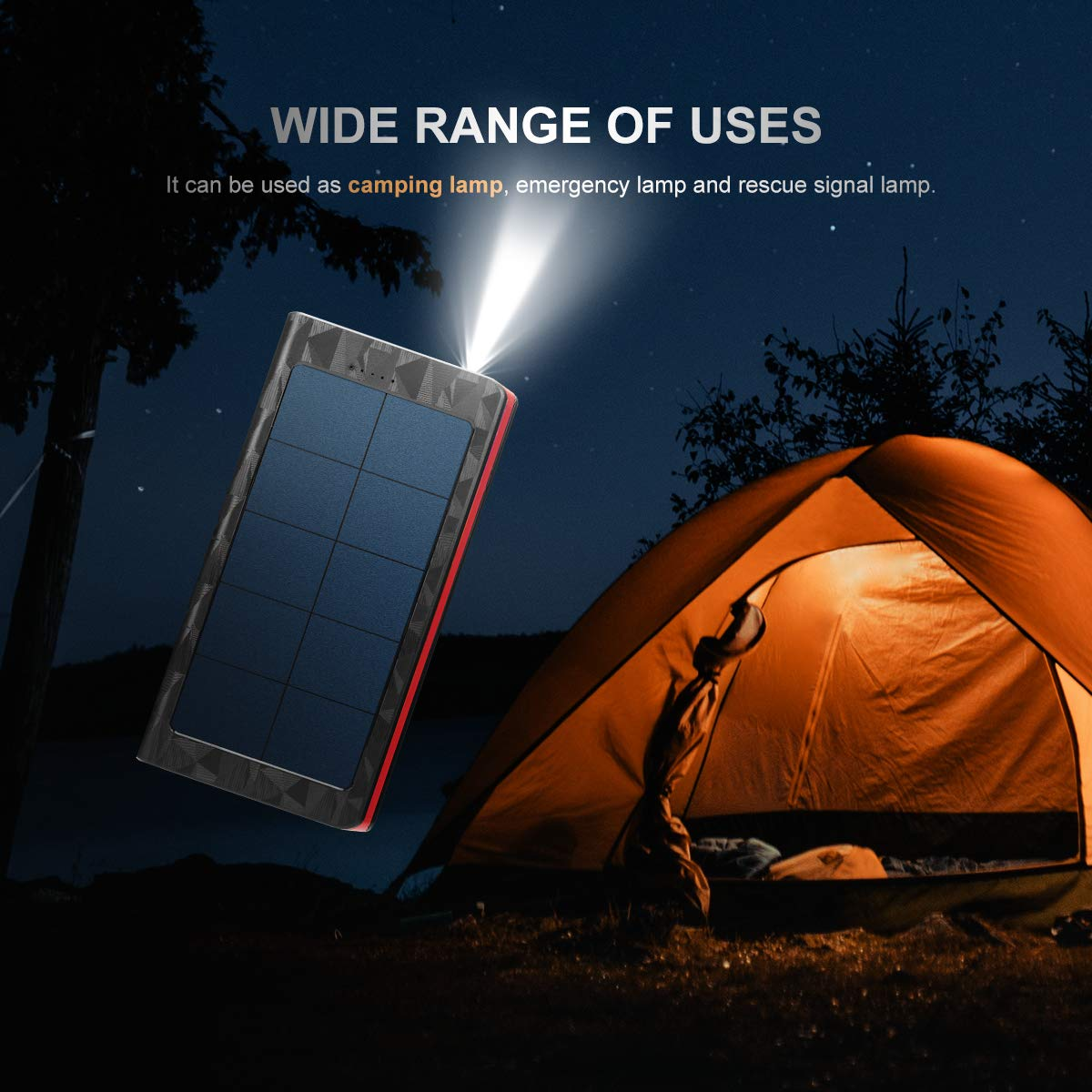 20000mah Solar Power Bank,Solar Charger with Quick Charge Type C 3A & Micro 2.4A Input,Portable Charger with Dual 2.4A Outputs and 3 Modes of LED Flashlight,Suitable for Smartphones and More