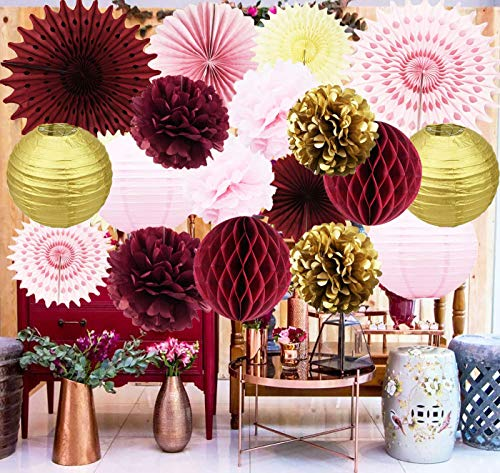 Maroon Bridal Shower Decorations Burgundy Pink Gold Birthday Party Decorations/Burgundy Wedding Decor Tissue Pom Pom/Tissue Paper Fan/Honeycom Balls Lanterns Burgundy Baby Shower -