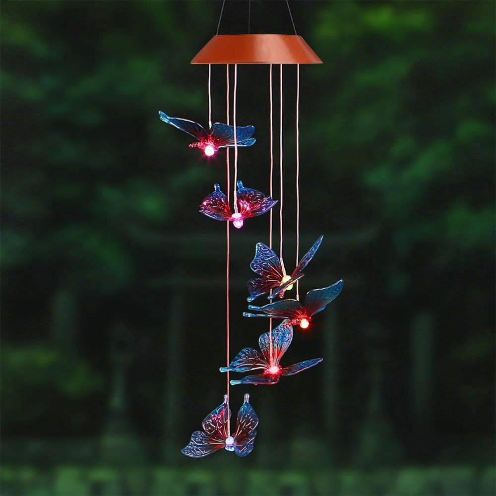 Amazing Wind Chime,Color Changing Solar Mobile Wind Chimes Lights Hanging Wind Bell Light Night Hanging lamp for Patio Garden Lighting Home Decoration with Spinning Hook Colorful Butterfly