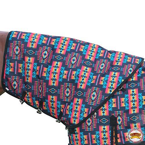 HILASON Medium Winter Waterproof Poly Turnout Horse Hood Neck Cover Black Aztec