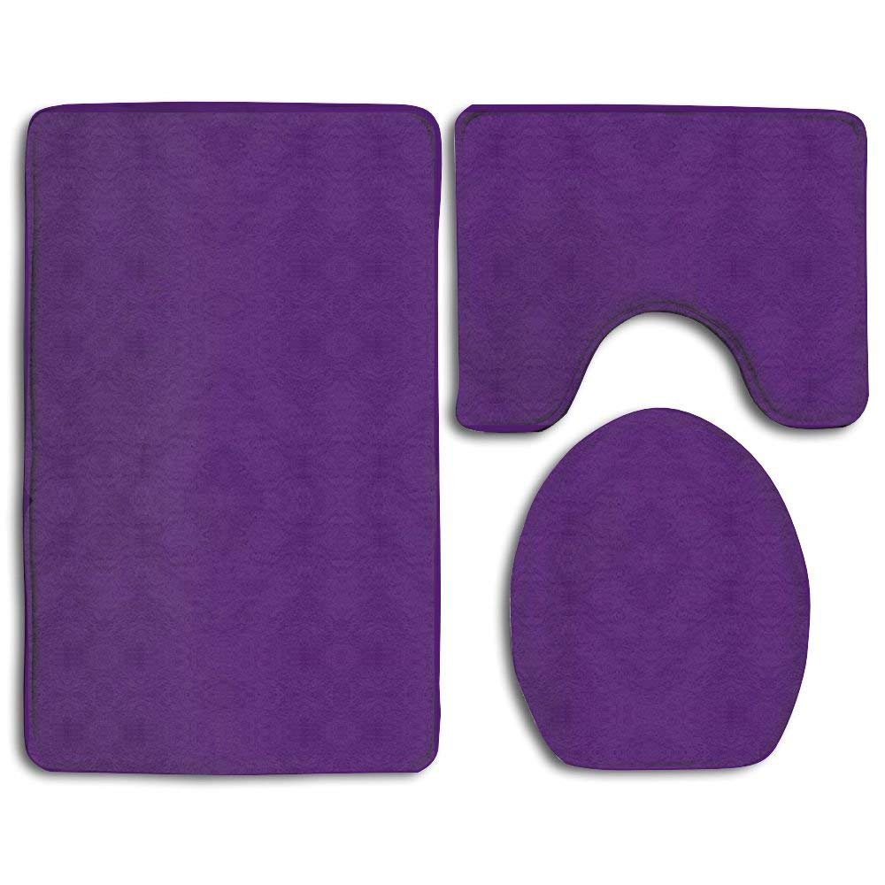 Bath Mat, 3 Piece Bathroom Rug Set Purple Nonslip Bathroom Rug, Soft Bathroom Mat, Dustproof Toilet Cover for Men Women Kids, Bathroom Rugs, Bathroom Accessories Feesoz