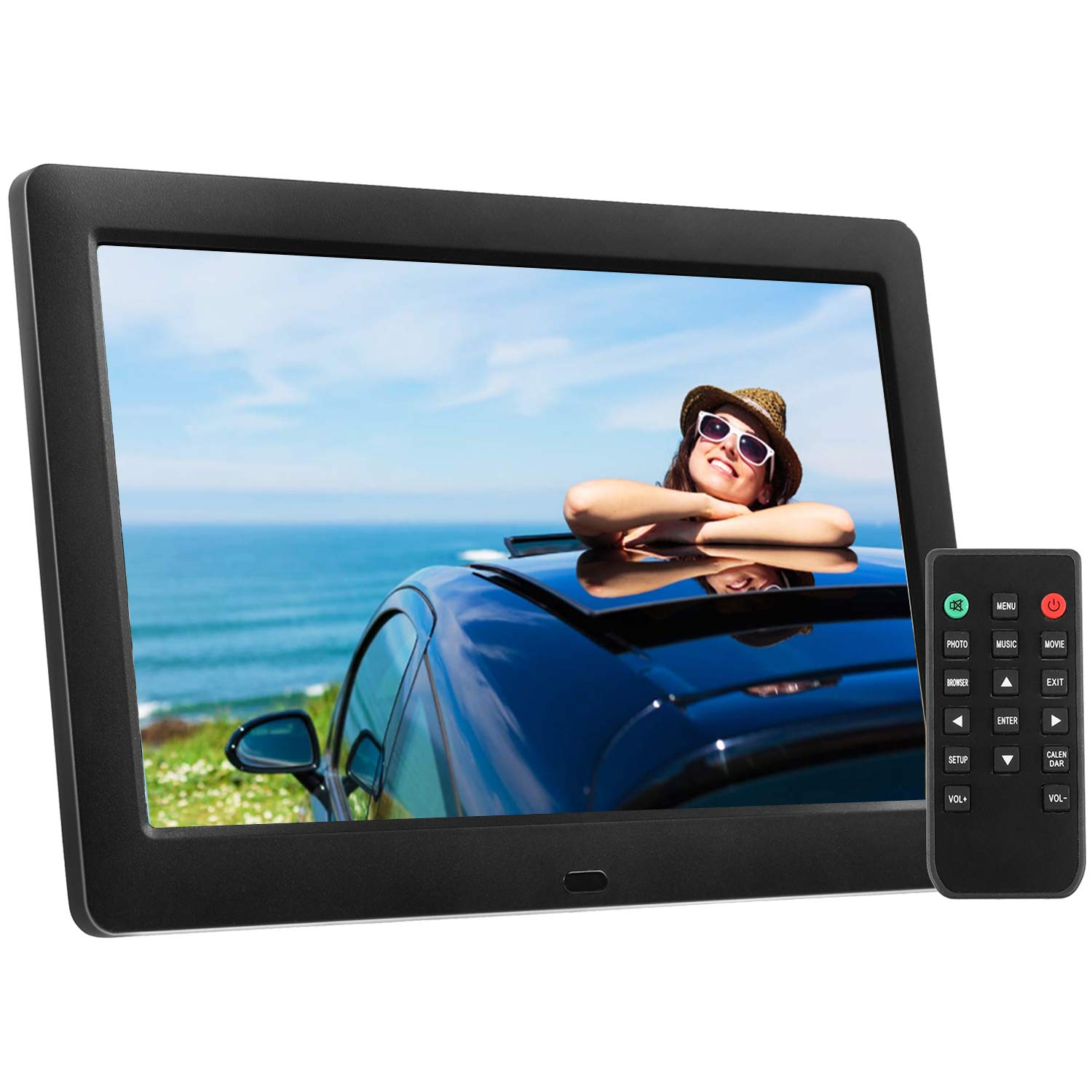 Digital Picture Frame 8 Inch Electronic Photo Frame & High Resolution 1280 x 720 IPS LCD Screen - Calendar/Clock Function, MP3/ Photo/Video Player with Remote Control