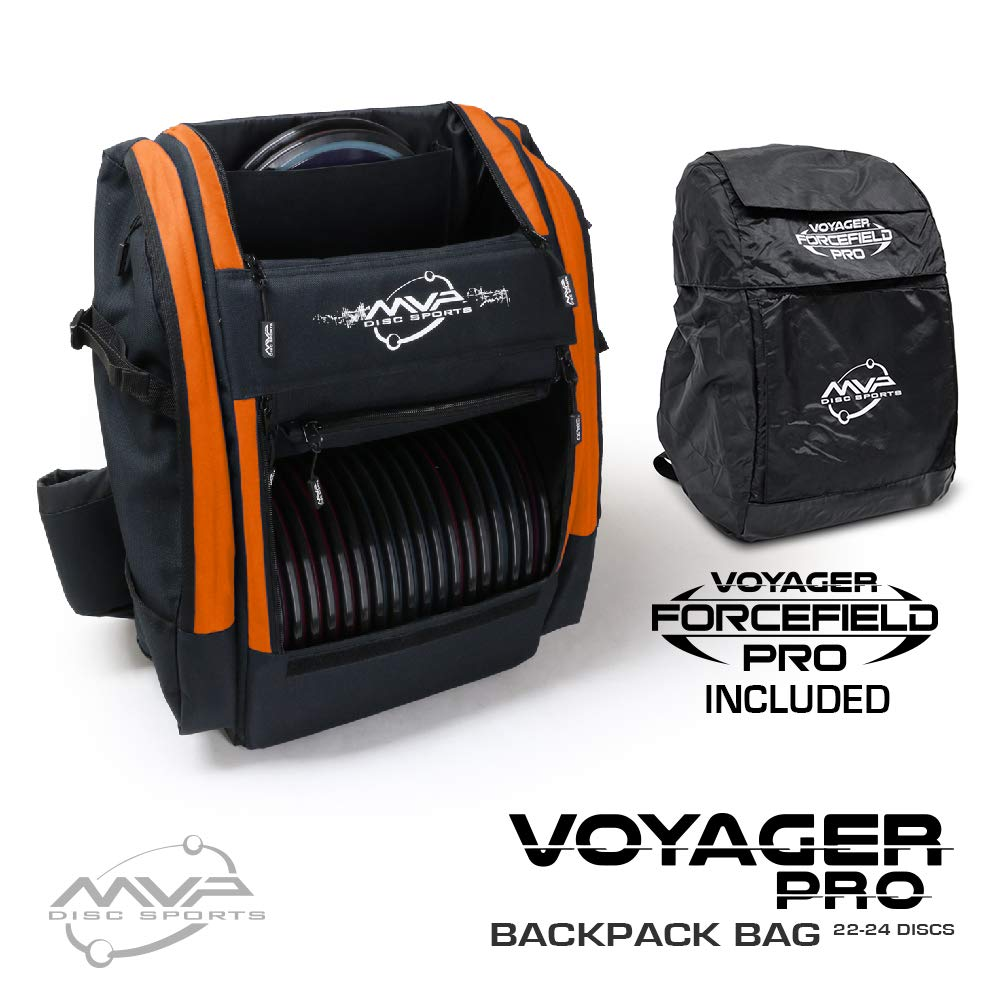 MVP Disc Sports Voyager Pro Backpack Disc Golf Bag with Forcefield Rainfly - Orange