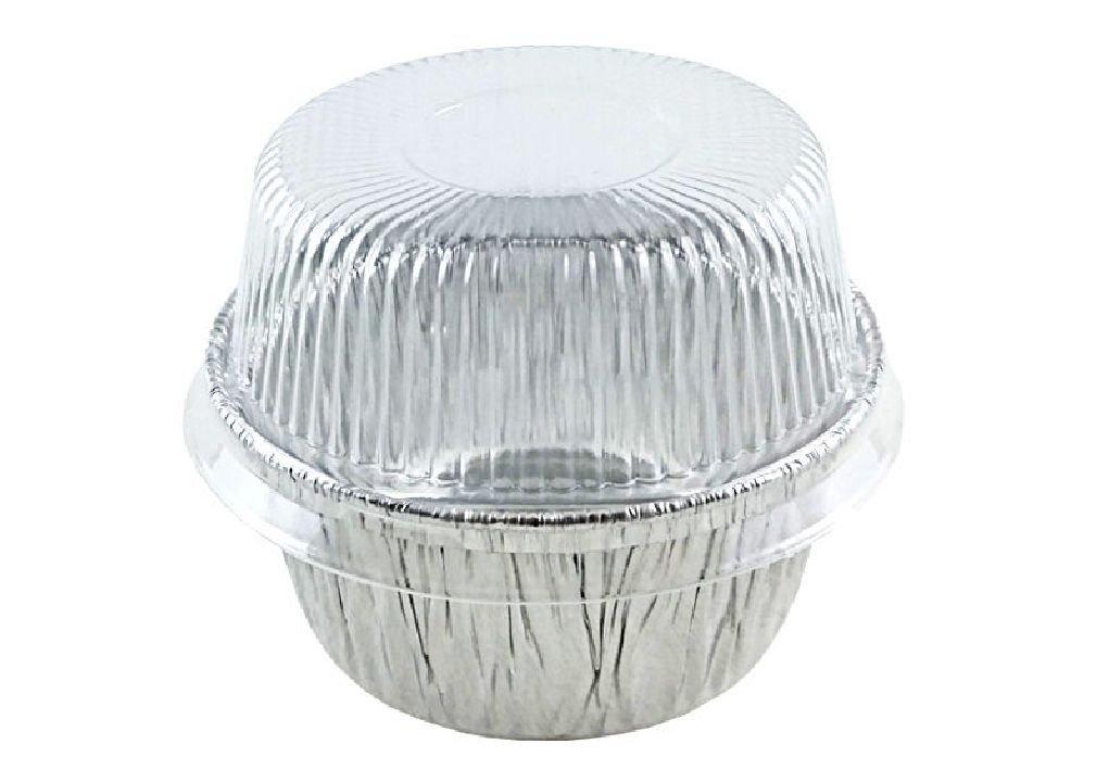 4 oz. Aluminum Foil Cup w/Clear Plastic High Dome Lid 300PK Cupcake/Ramekin Tin