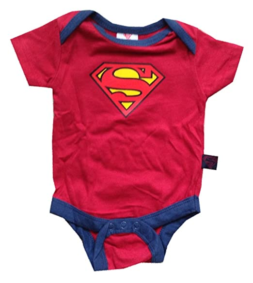 3c81fd8c6 SUPERMAN - Logo - Officially Licensed Red Baby One Piece Bodysuit - size 0-3