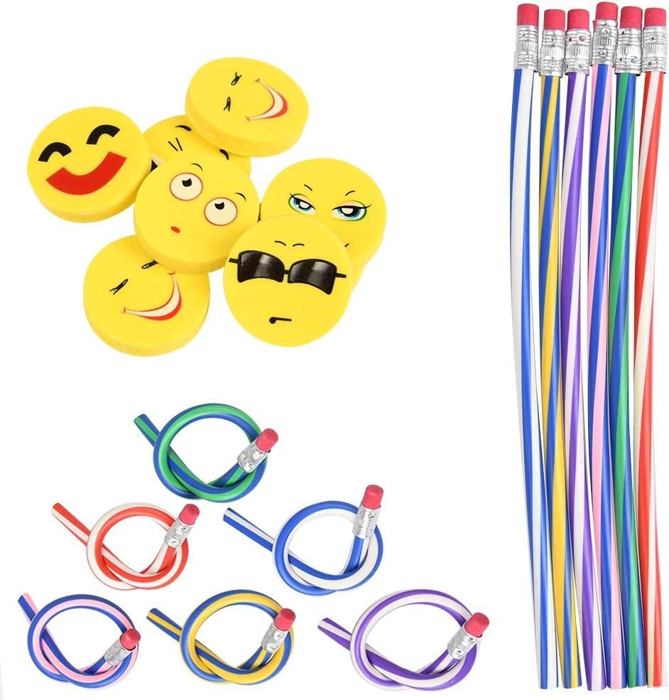 YANSHON Lápices Flexibles y Llantas Emoji Lápiz Suave Flexible Lápices Suaves Plegables para niños, Lápiz Suave Flexible 24pcs + Neumáticos 24pcs, Regalos Divertidos para niños