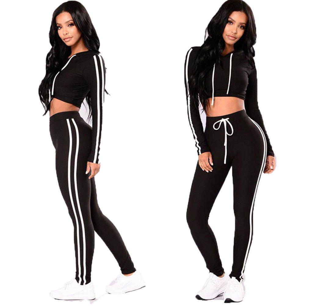 Tomblin Women Casual Sport Bodycon Long Sleeve Crop Top Long Skinny Pant Set Tracksuit (L, Black)