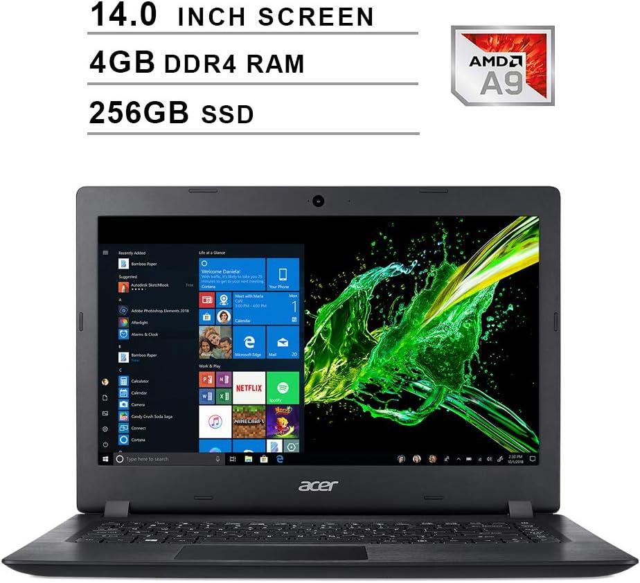 2020 Newest Acer Premium Aspire 3 14 Inch Laptop (AMD A9-9420e 1.8GHz up to 2.7GHz, 4GB DDR4 RAM, 256GB SSD, AMD Radeon R5, WiFi, Bluetooth, HDMI, Webcam, Windows 10 Home) (Black)