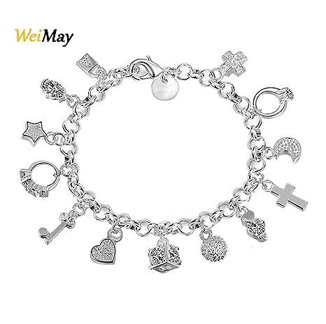 Weimay mujeres plateado plata con 13 pulseras colgantes de cristal