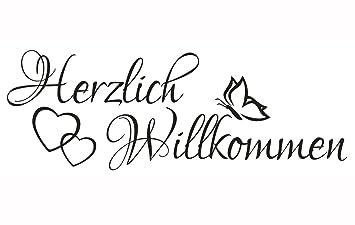 Wandtattoo Spruch Herzlich Willkommen Welcome Flur Sticker Wandaufkleber