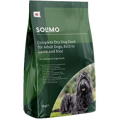 Marca Amazon - Solimo - Alimento seco completo para perro adulto rico en cordero y arroz,  2 Packs de 5kg