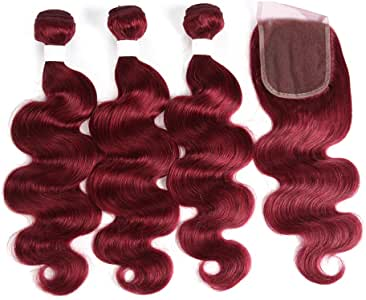 X-TRESS Brazilian Remy Hair Burgundy Bundles with Lace Closure Body Wave Human Hair Extension 100% Virgin Human Hair Weave Burgundy Red Hair Extension Mixed Length (12 12 12 +10)