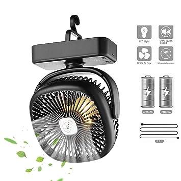 Lixada Ventilador Mini USB con Luz LED Batería de 4400 mah Velocidades Ajustables Silencioso para Tienda de Camping Oficina RV: Amazon.es: Deportes y aire libre