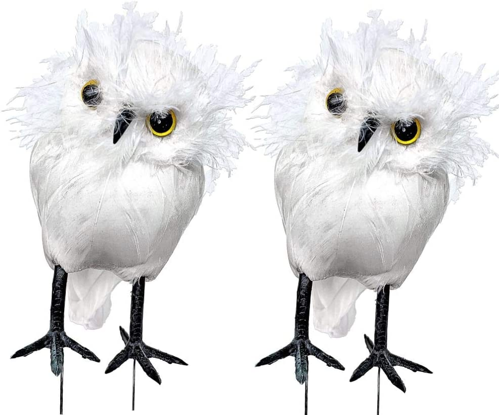 BANBERRY DESIGNS White Snowy Owl Birds - Set of 2 Feather Owls with Wire Feet - Approx 4.5 Inches Tall and 3 inches Wide - Decorative Woodland Christmas Decor - Artificial Craft Birds