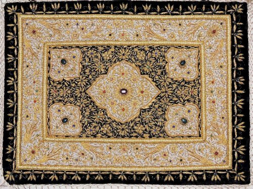 - Kashmir Zardozi Jewel Carpet Rug Handmade Traditional Decorative Wall Hanging ~ 24 Inch x 18 Inch