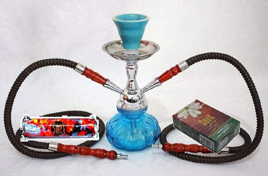 Small Sky Blue 2 Hose Hookah for Shisha Smoking Pipe with 1 Roll of Soex Charcoal Coal and 1 Box of Soex Double Apple 50 gr Herbal Shisha - no Tobacco no Nicotine