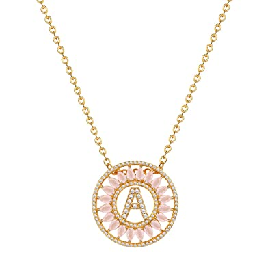 Suplight 18K Gold/Platinum Plated Cubic Zirconia Initial Letter Circle Pendant Necklace for Women jXfMhc4oF