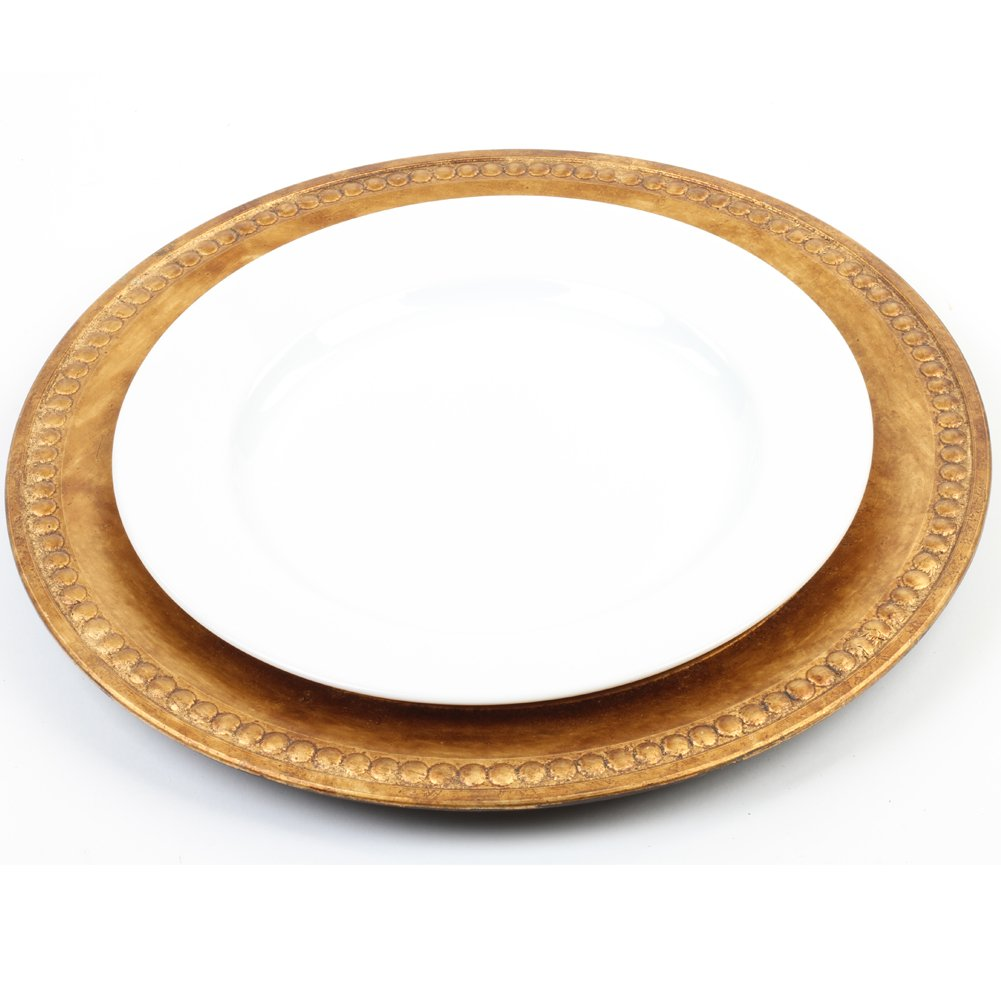 4-Pack Koyal Wholesale Vintage Gold Beaded Gilt Charger Plates