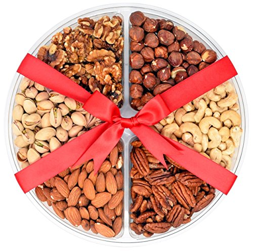 Valentines Day Nuts Gift Basket 1.56 Lbs - 6 sectional - with Raw Pecans, Walnut halves and pieces, Raw Cashews, Roasted Salted Pistachios, Raw Almonds, Raw Hazelnuts