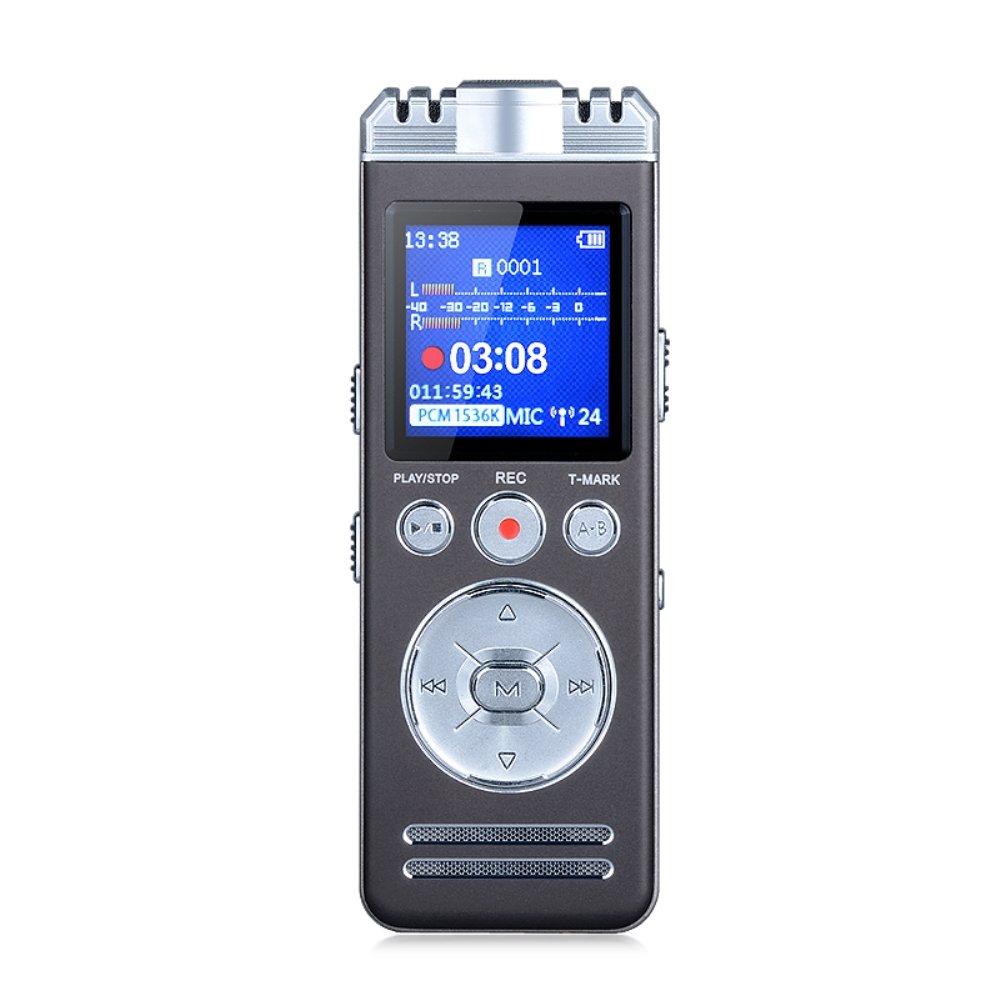 Digital Voice Recorder, 8GB Audio Sound Recorder 1536Kbps MP3 Player PCM Linear Recording Dictaphone, with Dual Stereo Mic│DSP + ADC Decoding, Voice Activated, T-mark Function, Dynamic Noise Reduction