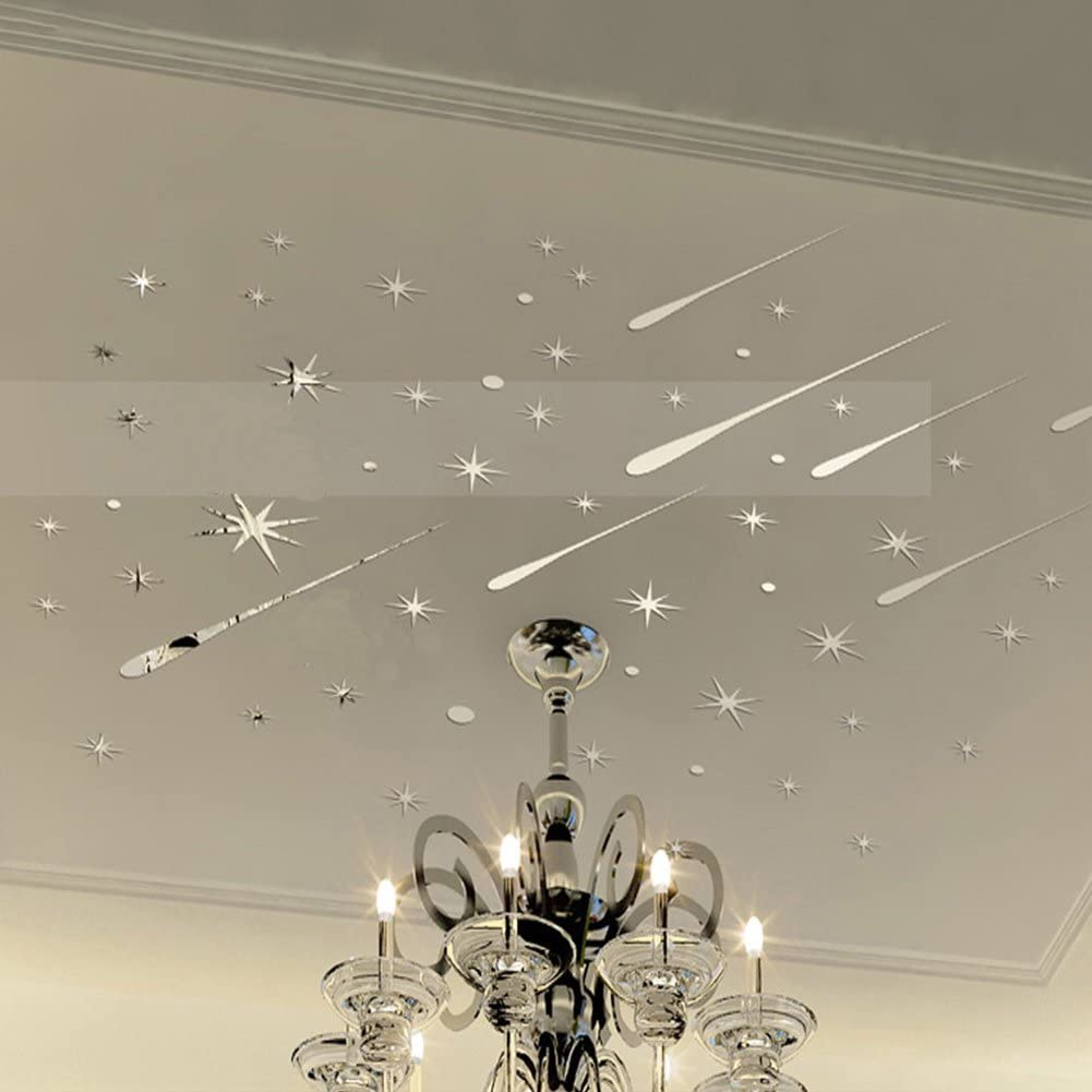 Mosichi Meteor Showers Stars 3D Mirror Wall Art Stickers DIY Decal Kids Nursery Bedroom Home Decor Golden