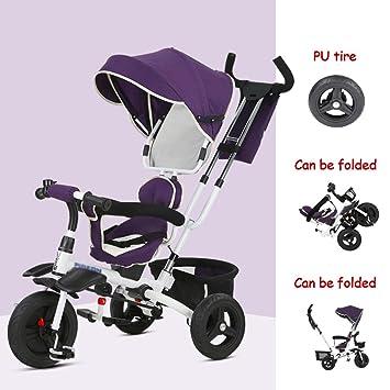 Triciclos Plegable para niños 1-3 años Dirección del Asiento Bebé Pedal Bicicleta Bebé Carrito para niños Bicicletas, correpasillos (Color : Purple): ...