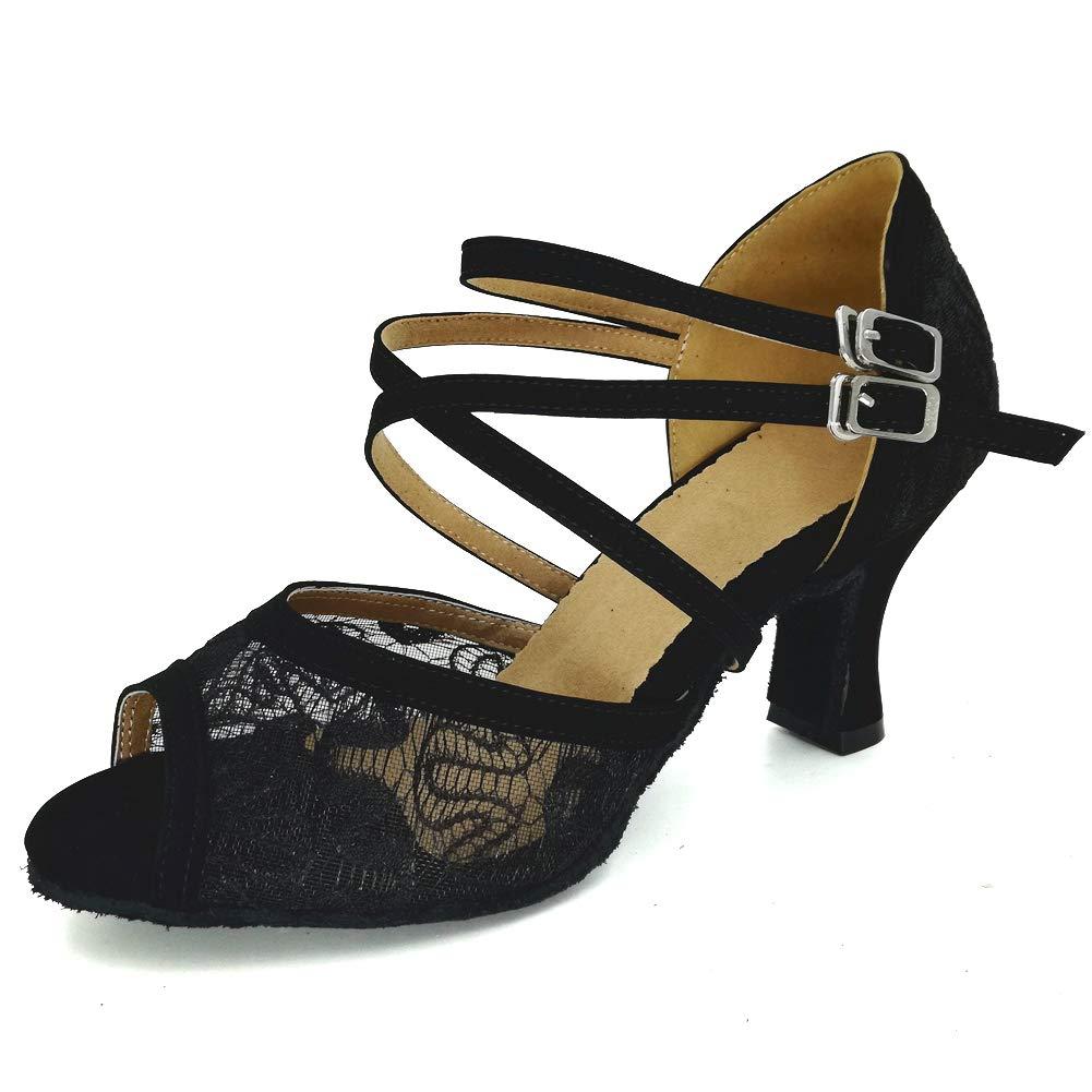 3d93a118d1fde Misu Women's Peep Toe Sandals Latin Salsa Tango Practice Ballroom ...