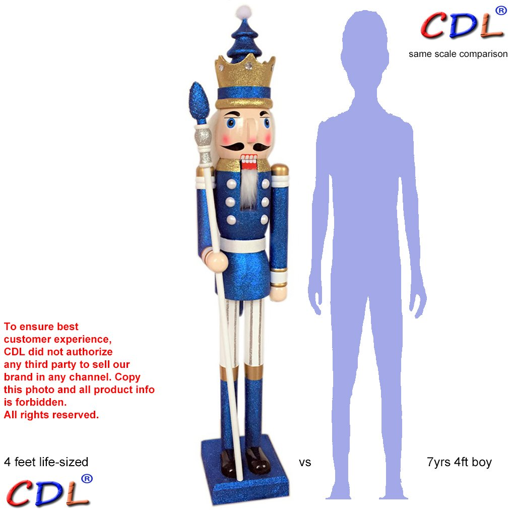CDL 48'' 4ft tall life-size large/giant blue glitter Christmas wooden nutcracker king ornament on stand holds golden scepter for indoor outdoor Xmas/event/wedding party decoration K33 by ECOM-CDL