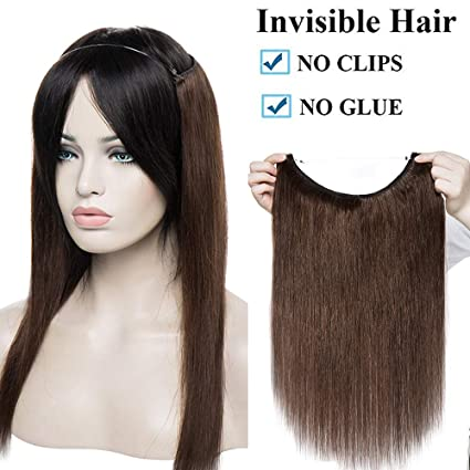 "16"" Extensiones de Cabello Natural con Hilo Invisible No Clip 100% Remy Pelo Natural"