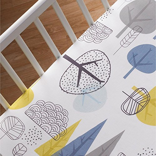 Lolli Living 100% Cotton Crib Fitted Sheet (Woods Collection). In The Woods Pattern Ultra-Soft Fitted Sheet for Standard Cribs
