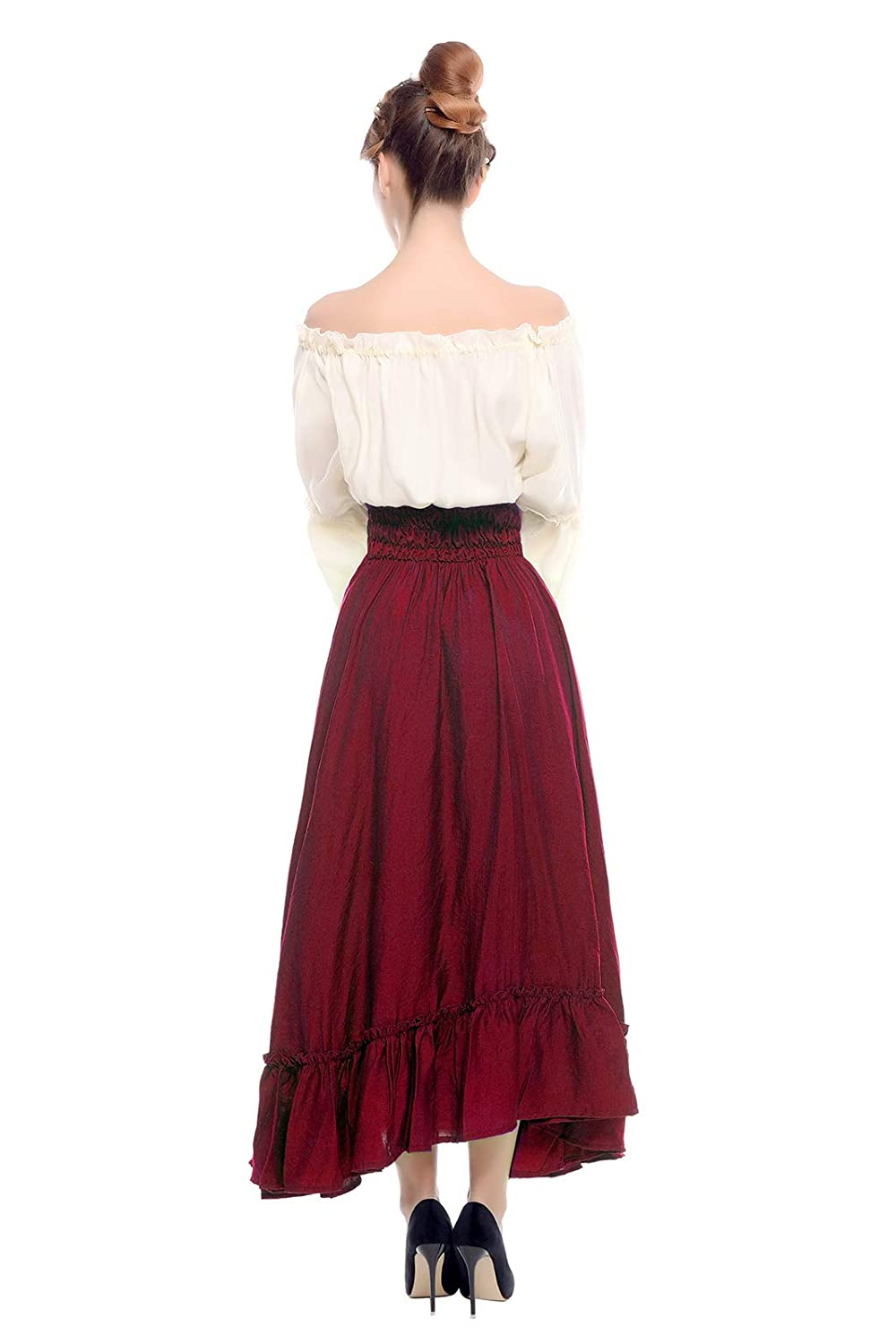 7bad42b942 Amazon.com  ROLECOS Renaissance Medieval Dress Victorian Peasant Retro Gown  Shirt and Skirt  Clothing