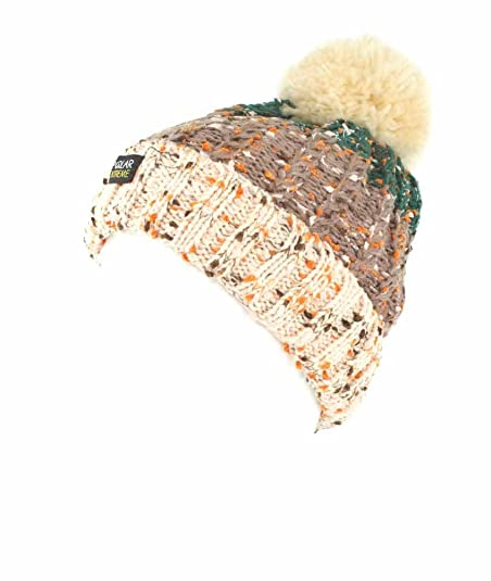 68ae784599ca6 Amazon.com  Polar Extreme Womens Fleck Yarn Sherpa Lined Beanie with Pom Pom  Green Brown Cream Hat - One Size Fits All  Shoes