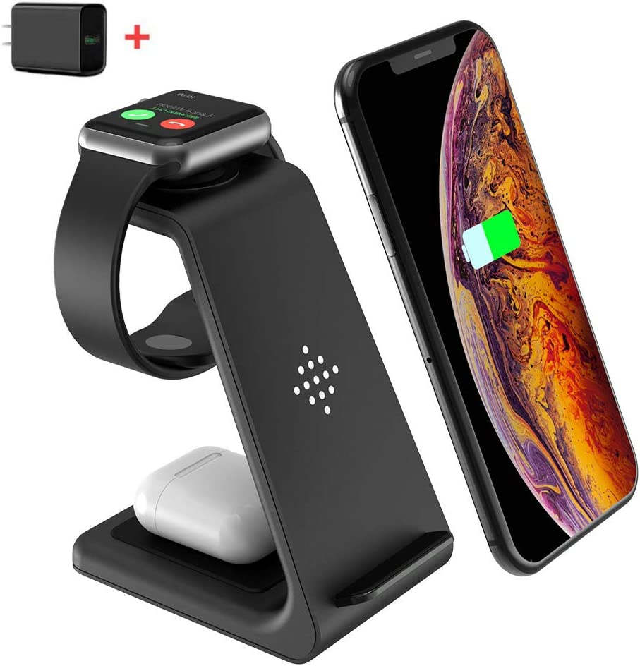 Wireless Charger Stand, CIYOYO 3 in 1 Fast Wireless Charging Station Dock for Apple Watch Series 6/SE/5/4/3/2, Airpods Pro 2, iPhone 12/12Pro/11/11Pro Max/SE/X/XR/XS/XS Max/8 Plus QI Phones