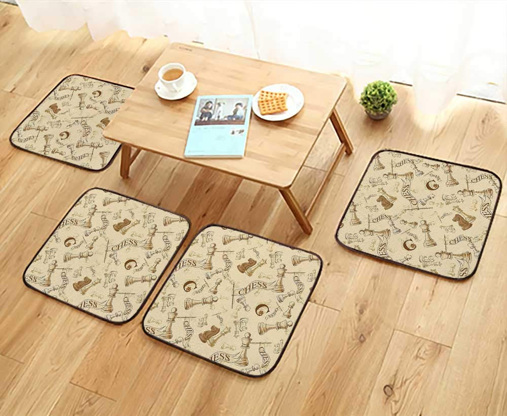 Leighhome Simple Modern Chair Cushions Various Sized Chess Game Pieces Players Vintage Syle Retro Backgound Urban Bohemian Decora Reusable Water wash W27.5 x L27.5/4PCS Set
