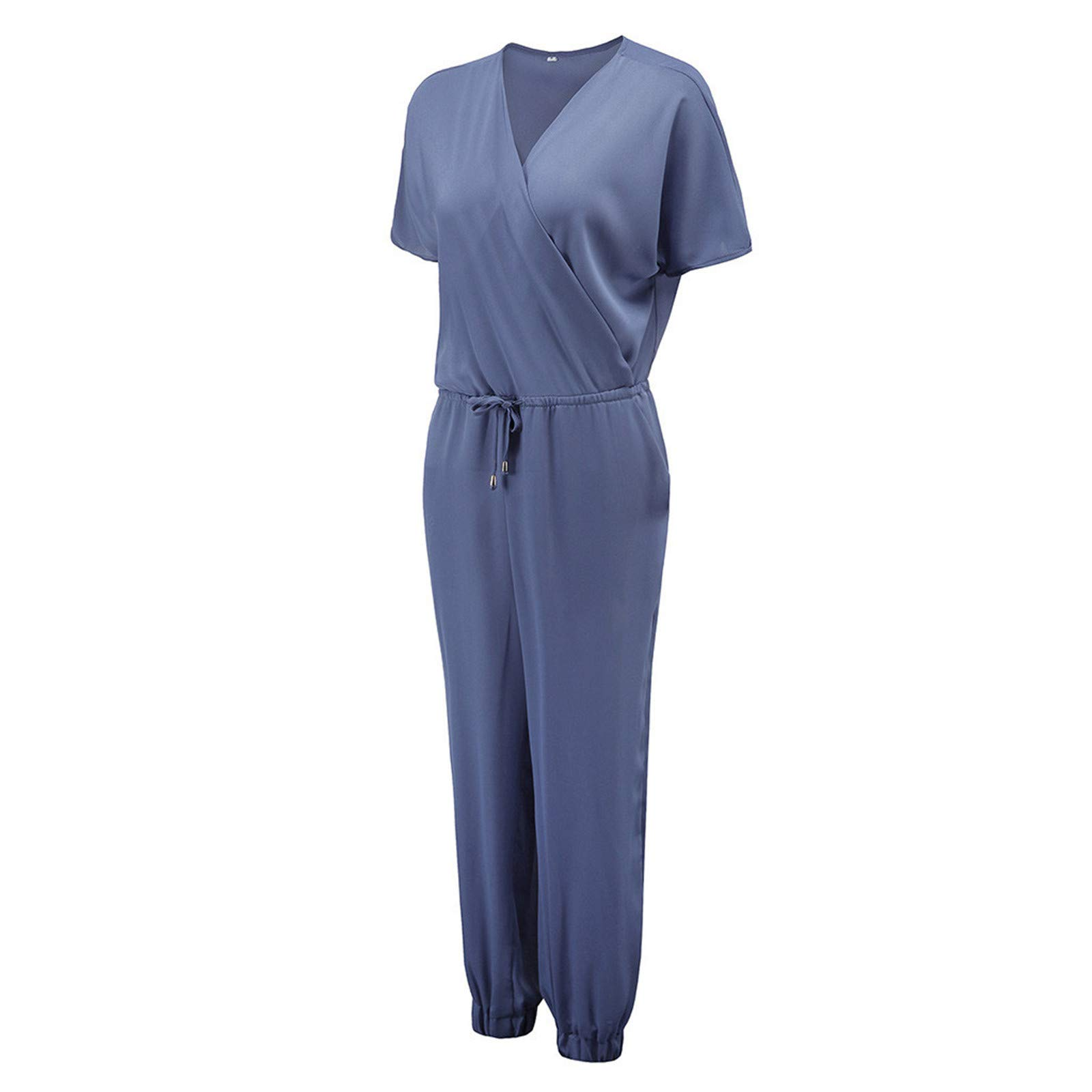 Thenxin Short Sleeve Jumpsuit for Women V Neck Elastic Waist Drawstring Beam Foot Baggy Romper(Sky Blue,M)