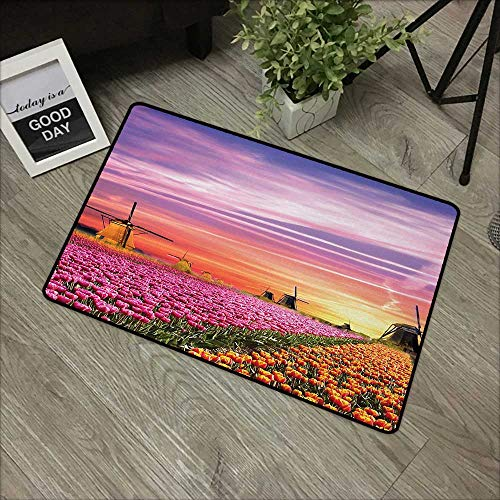 Mill Orange Mario - Moses Whitehead Durable Cat Litter Mat Nature,Tulip Fields and Windmills in European Landscape with a Sunset Sky View,Orange Pink Purple,for Entry, Garage, Patio, High Traffic Areas,24