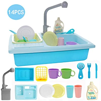 Overstep Children Pretend Toys Plastic Analog Electric Dishwasher Automatic Circulating Sink Dishwashing Toy Kitchen Sink Educational Toys: Arts, Crafts & Sewing