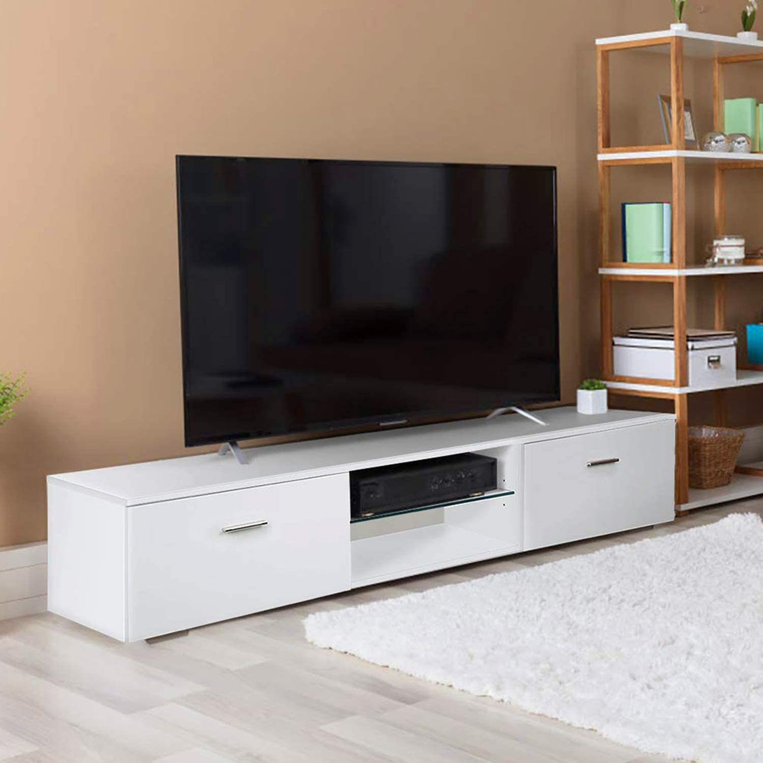 Tusy White Tv Stand For 65 Inch Tv Stands Media Console Entertainment Center Television Table 2 Storage Cabinet 2 Shelves For Living Room Bedroom Amazon Co Uk Kitchen Home