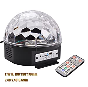 BOOMER VIVI B55 Bluetooth Speaker 8.6-Inch Crystal Super LED Strobe Bulb Multi Changing Color Crystal Stage Light, Wireless Speaker With Party Dance Light Aux Input TF Card Music Player Magic Ball (Color: Black)